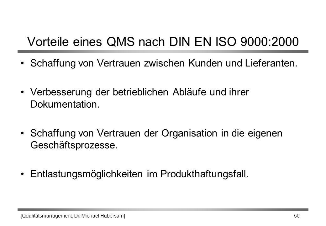 Vorteile eines QMS nach DIN EN ISO 9000:2000
