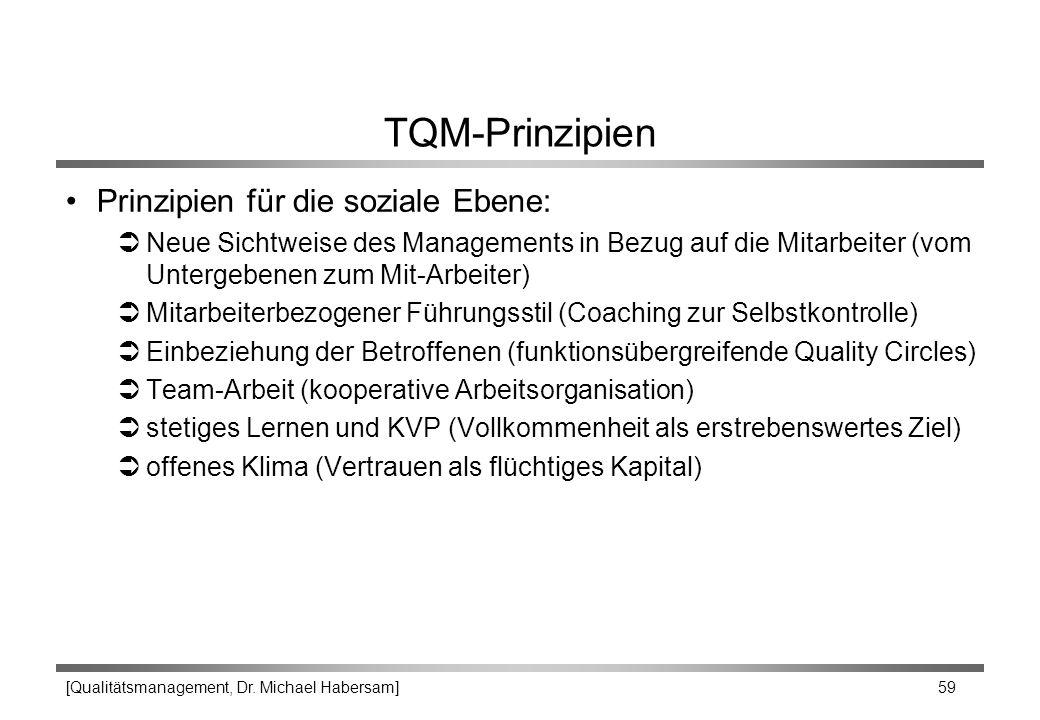 TQM-Prinzipien Prinzipien für die soziale Ebene: