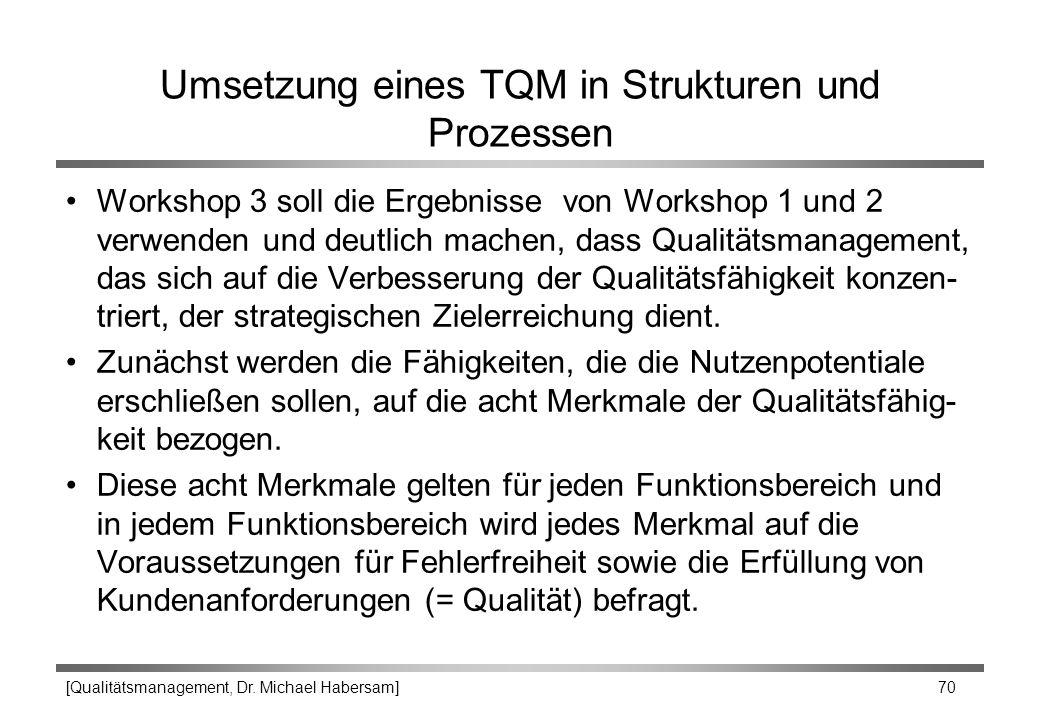 Umsetzung eines TQM in Strukturen und Prozessen