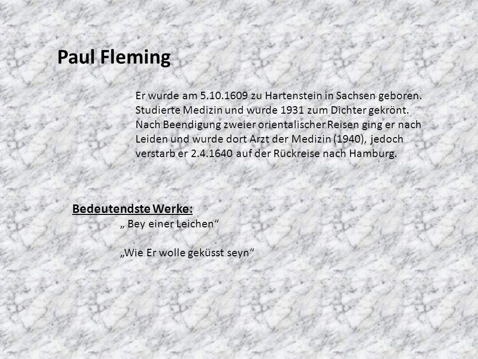 Paul Fleming Bedeutendste Werke: