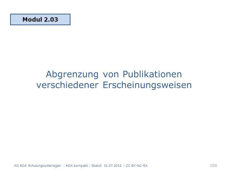 Abgrenzung von Publikationen verschiedener Erscheinungsweisen