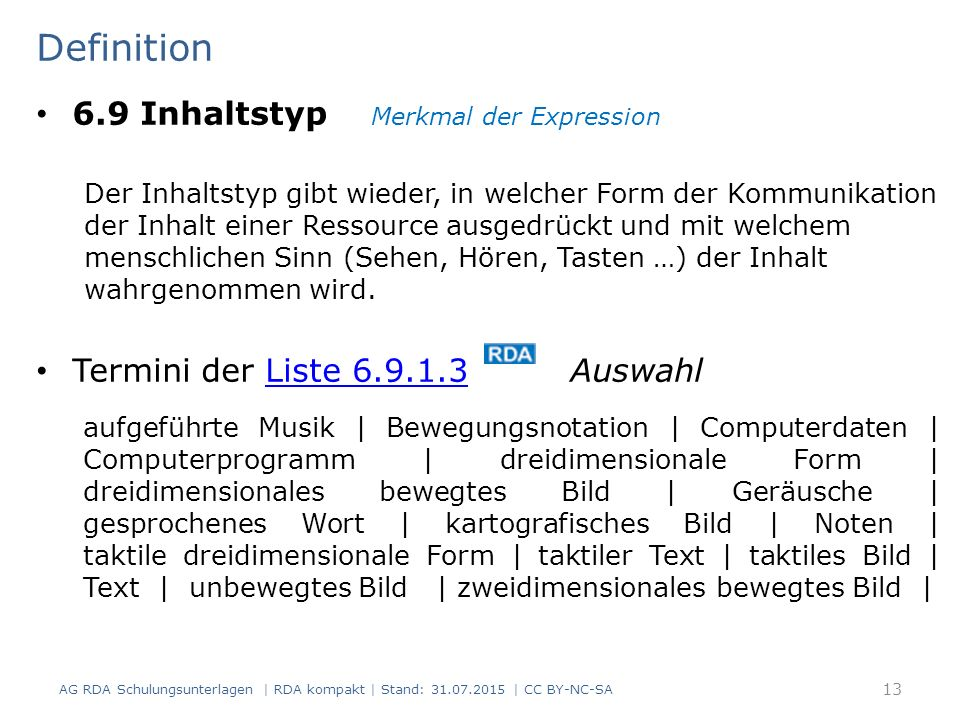 Definition 6.9 Inhaltstyp Merkmal der Expression