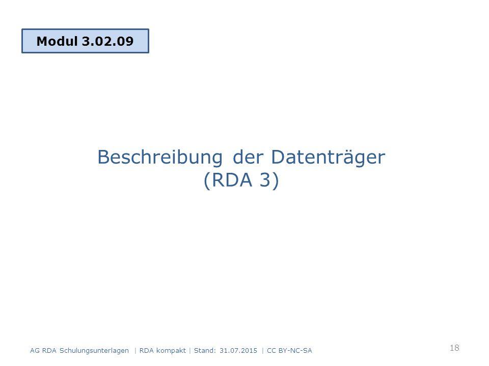 Beschreibung der Datenträger (RDA 3)