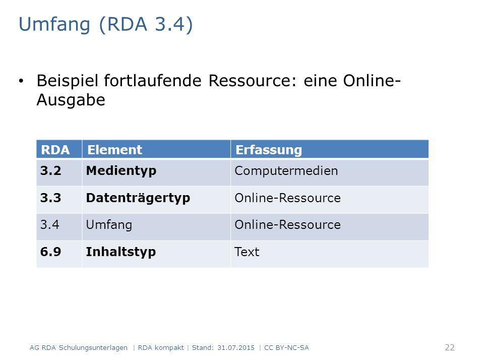 Umfang (RDA 3.4) Beispiel fortlaufende Ressource: eine Online-Ausgabe