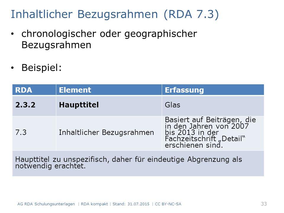 Inhaltlicher Bezugsrahmen (RDA 7.3)