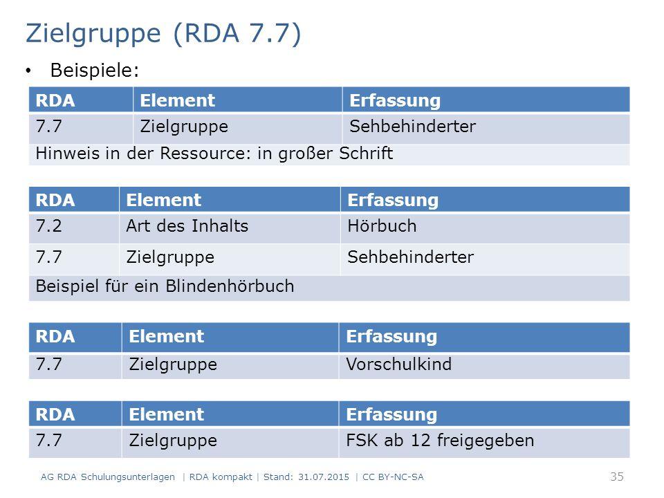 Zielgruppe (RDA 7.7) Beispiele: RDA Element Erfassung 7.7 Zielgruppe