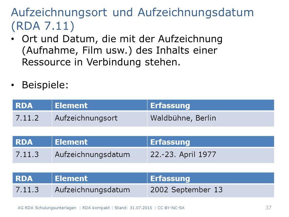 Aufzeichnungsort und Aufzeichnungsdatum (RDA 7.11)