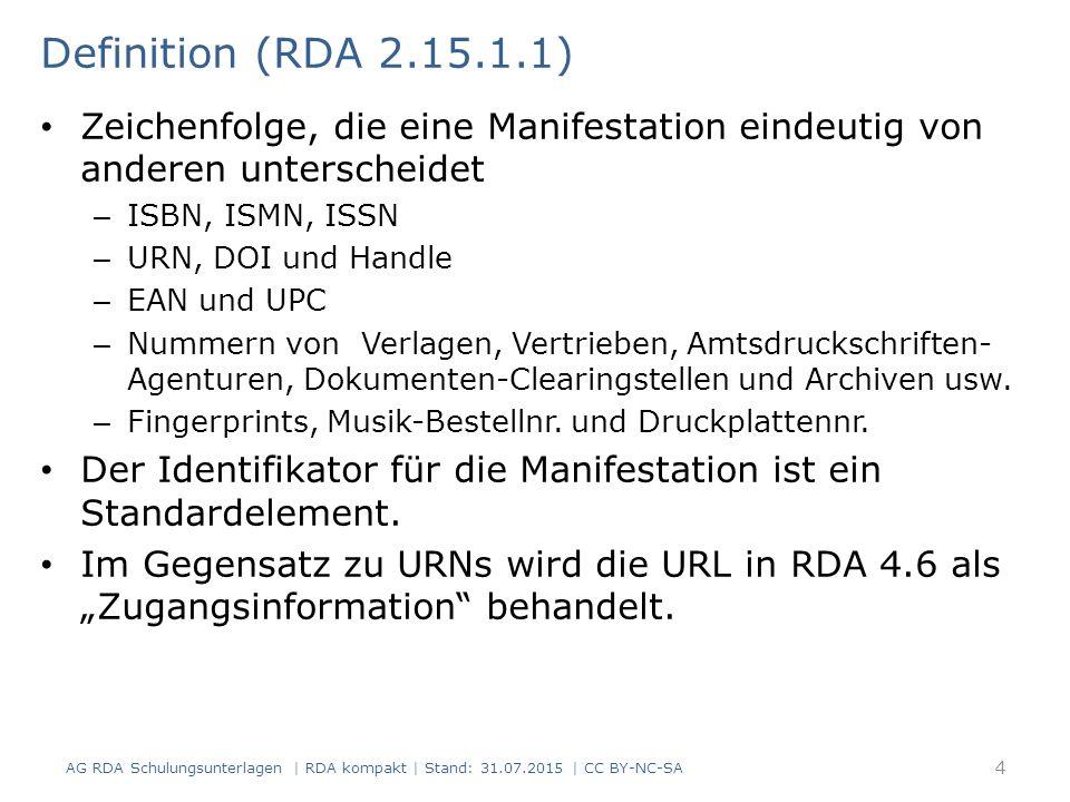 Definition (RDA 2.15.1.1) Zeichenfolge, die eine Manifestation eindeutig von anderen unterscheidet.