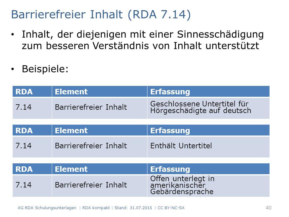 Barrierefreier Inhalt (RDA 7.14)