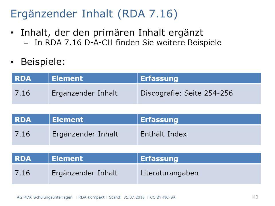 Ergänzender Inhalt (RDA 7.16)