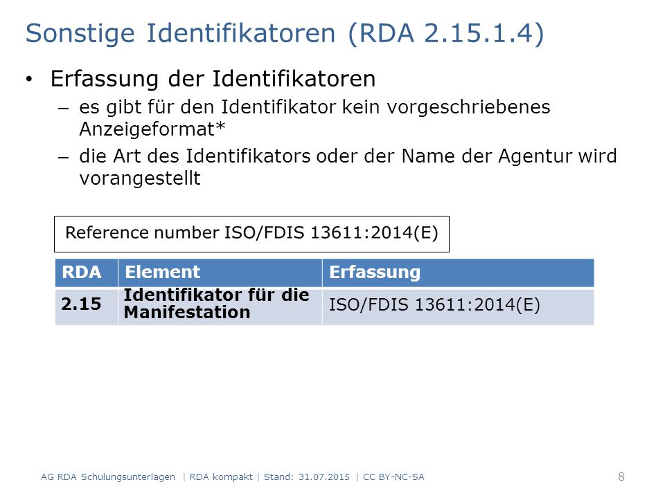 Sonstige Identifikatoren (RDA 2.15.1.4)