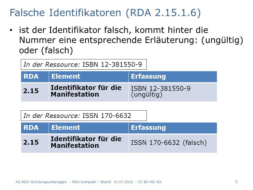 Falsche Identifikatoren (RDA 2.15.1.6)