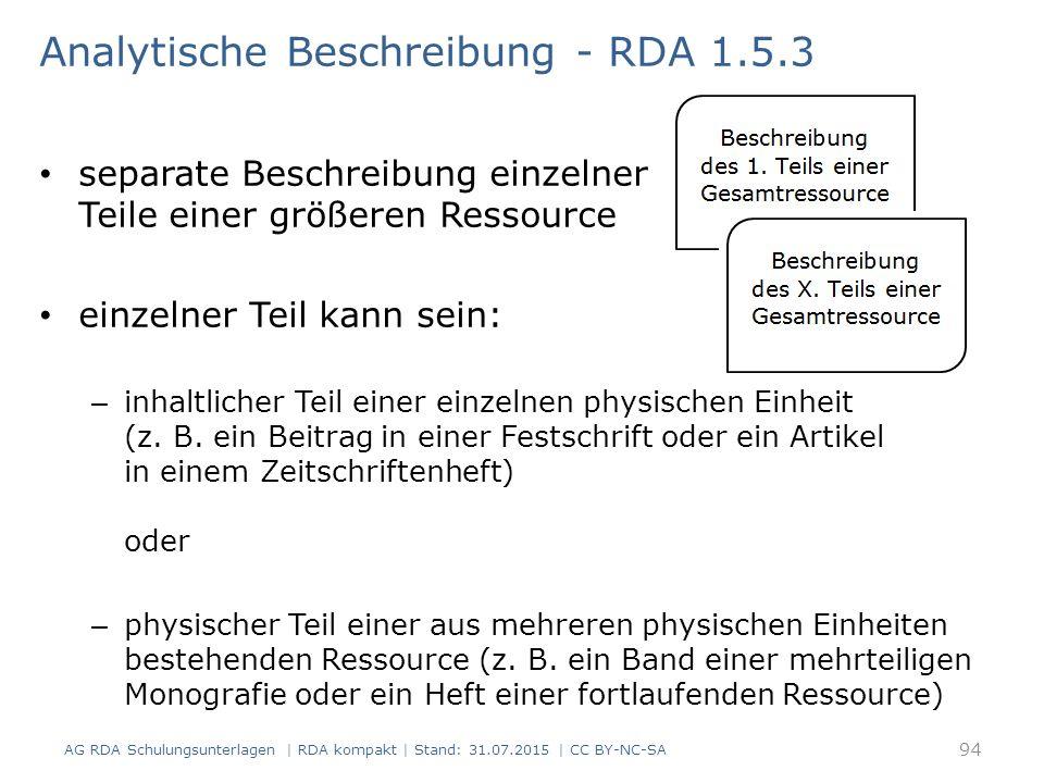 Analytische Beschreibung - RDA 1.5.3