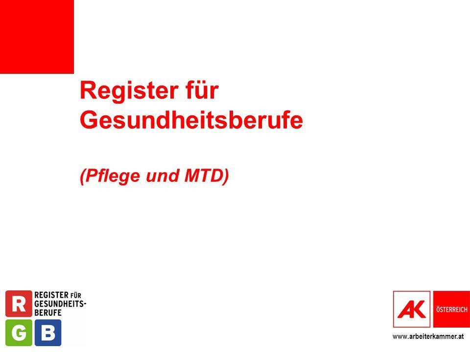 Register für Gesundheitsberufe (Pflege und MTD)