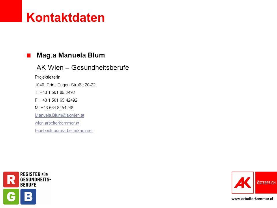 Kontaktdaten Mag.a Manuela Blum AK Wien – Gesundheitsberufe