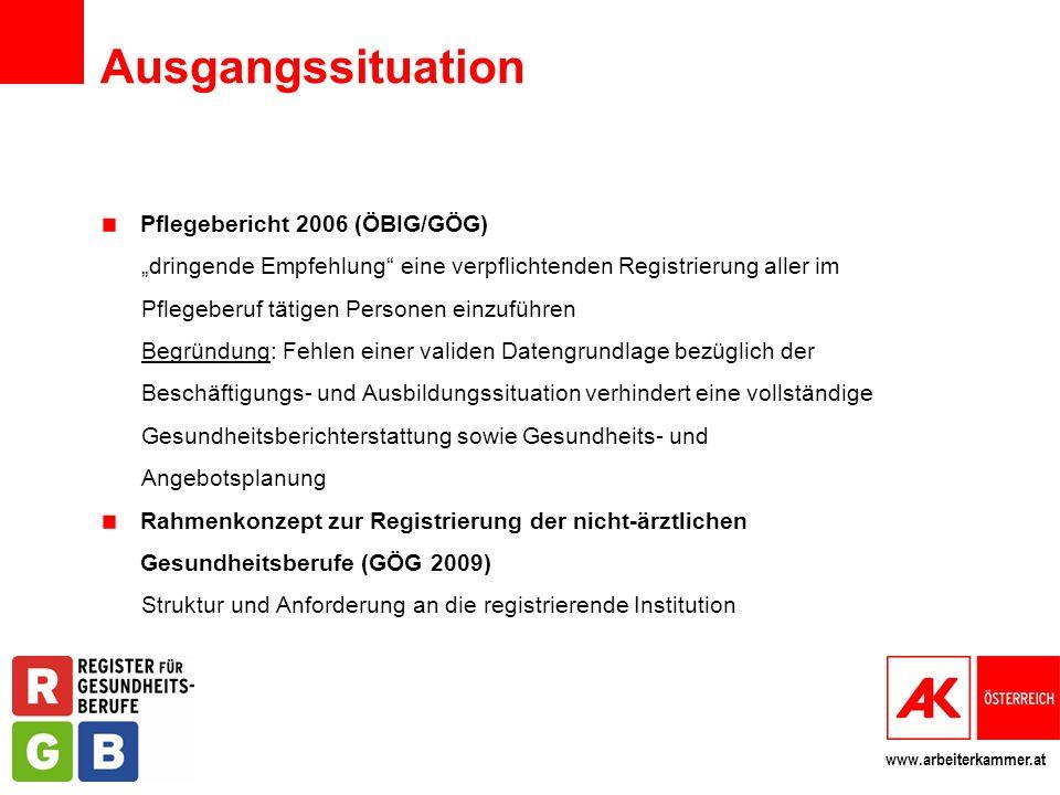 Ausgangssituation Pflegebericht 2006 (ÖBIG/GÖG)