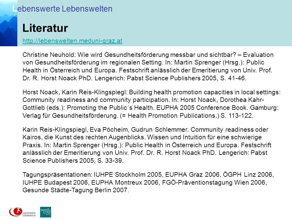 Literatur http://lebenswelten.meduni-graz.at