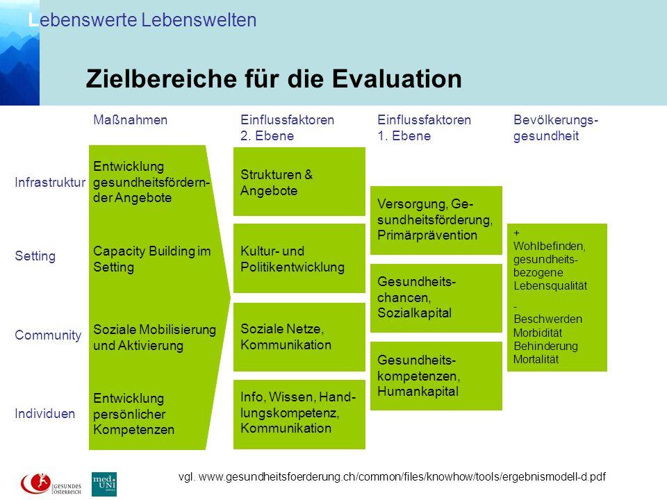 Zielbereiche für die Evaluation