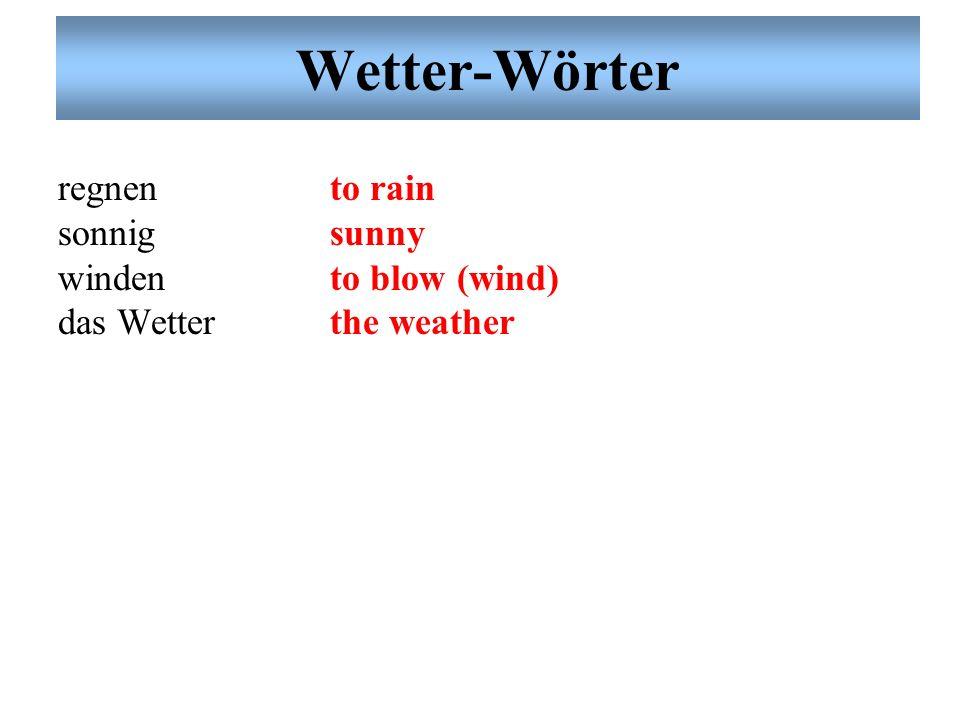 Wetter-Wörter regnen sonnig winden das Wetter to rain sunny