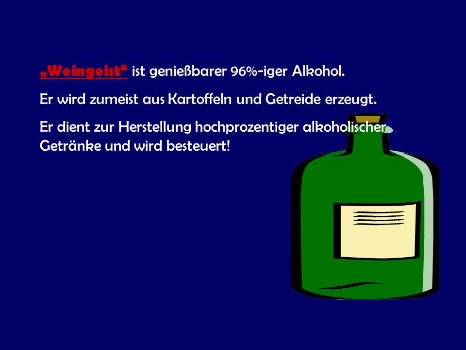 """""""Weingeist ist genießbarer 96%-iger Alkohol."""