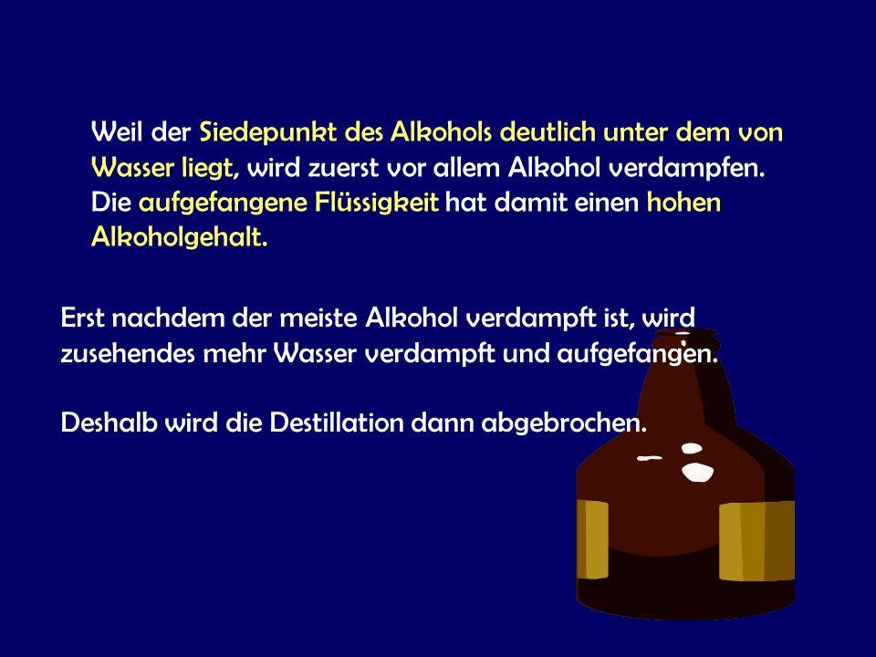 Weil der Siedepunkt des Alkohols deutlich unter dem von Wasser liegt, wird zuerst vor allem Alkohol verdampfen. Die aufgefangene Flüssigkeit hat damit einen hohen Alkoholgehalt.