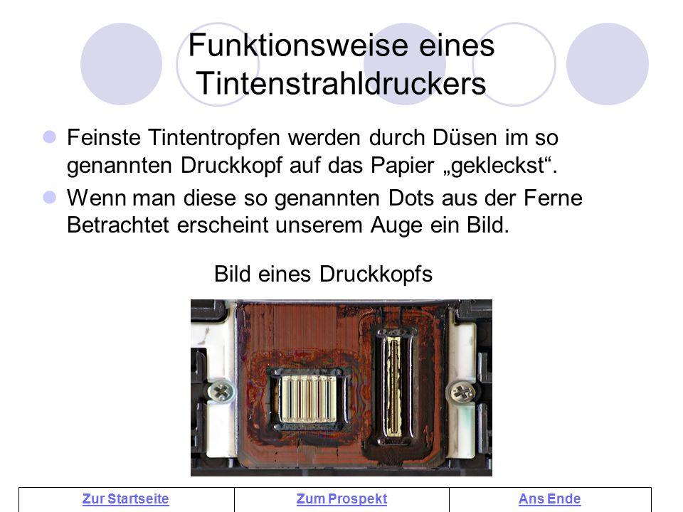 Funktionsweise eines Tintenstrahldruckers