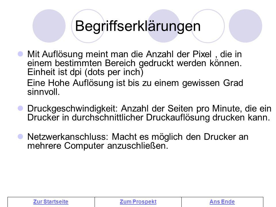 Tintenstrahldrucker Begriffserklärungen.