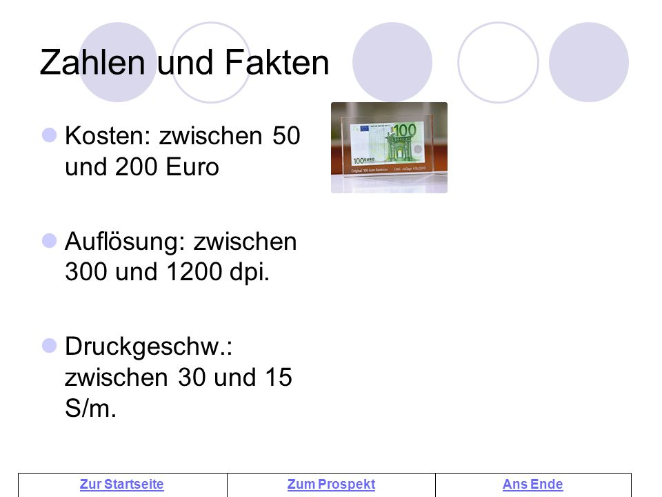 Zahlen und Fakten Kosten: zwischen 50 und 200 Euro