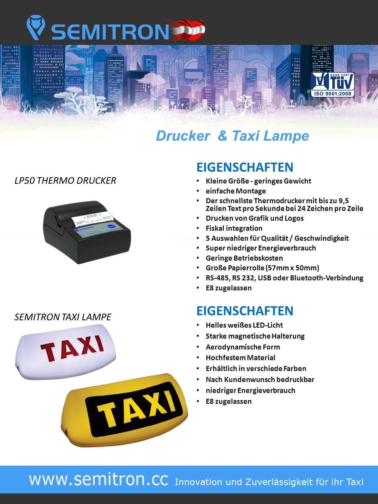 Drucker & Taxi Lampe EIGENSCHAFTEN