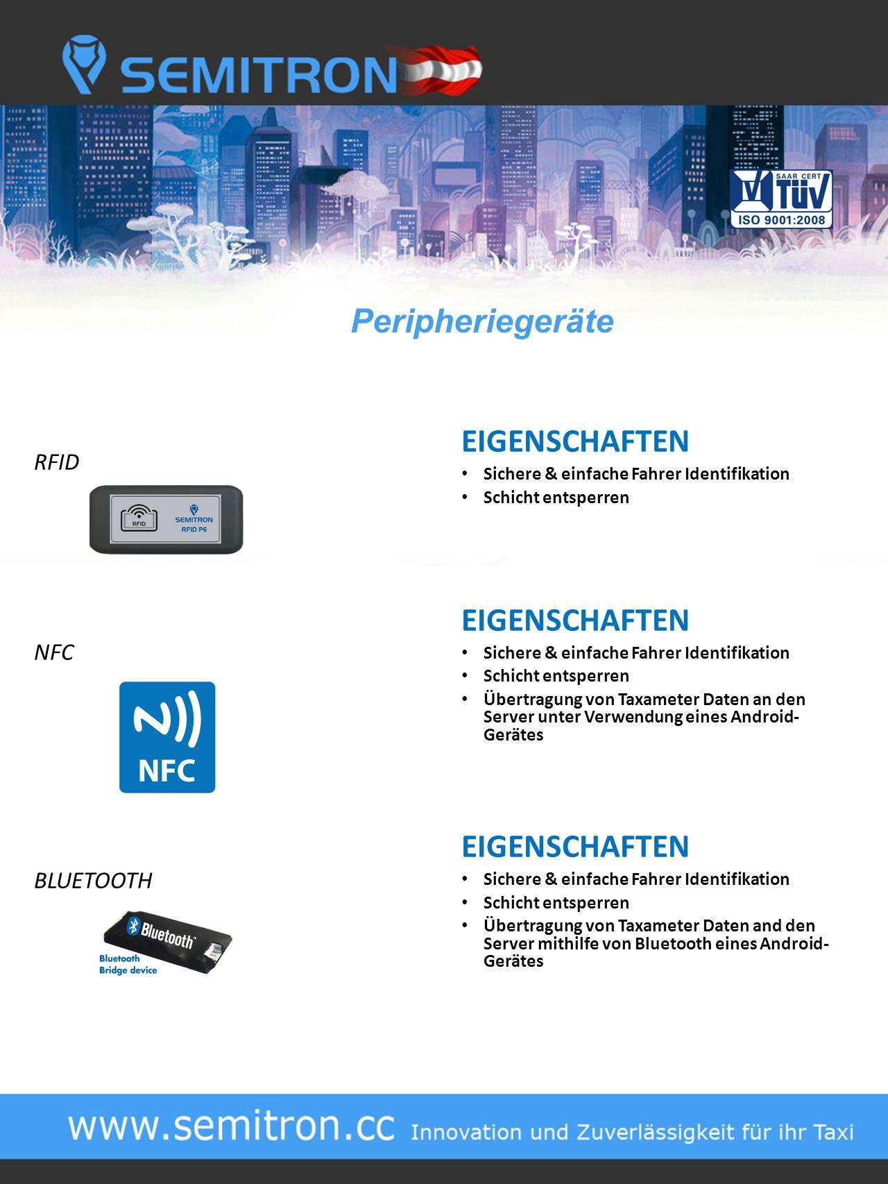 Peripheriegeräte EIGENSCHAFTEN RFID NFC BLUETOOTH