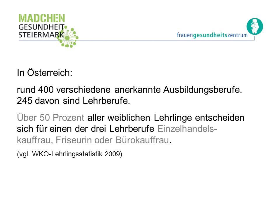 In Österreich: rund 400 verschiedene anerkannte Ausbildungsberufe. 245 davon sind Lehrberufe.