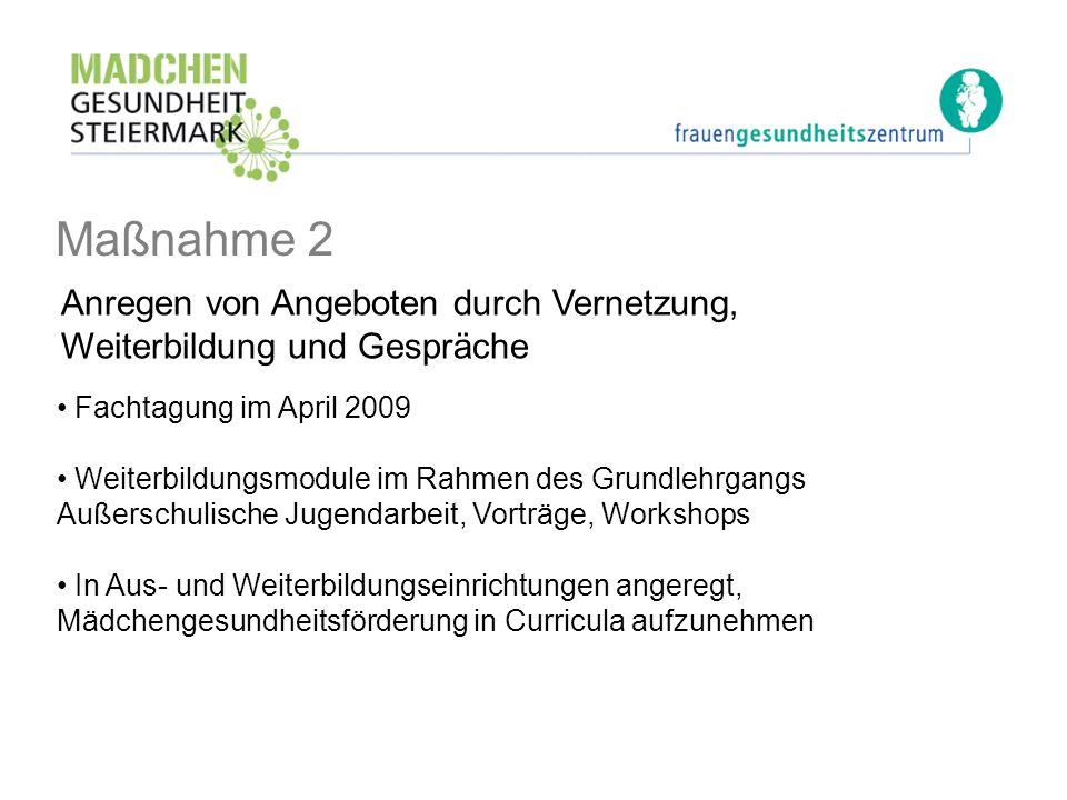 Maßnahme 2 Anregen von Angeboten durch Vernetzung, Weiterbildung und Gespräche. Fachtagung im April 2009.
