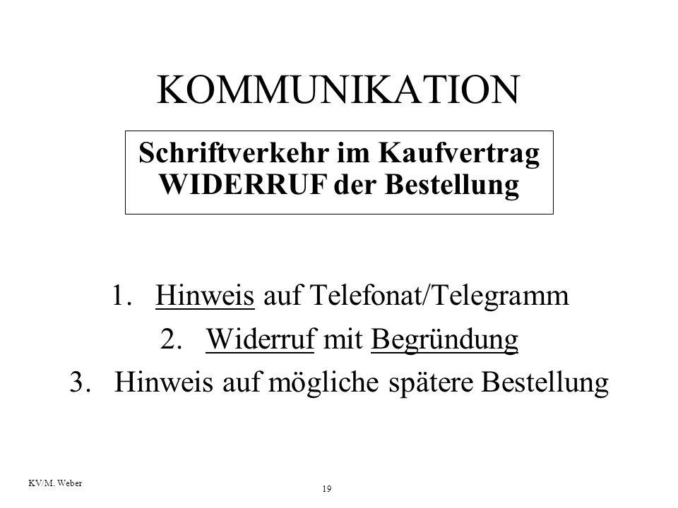 Schriftverkehr im Kaufvertrag WIDERRUF der Bestellung
