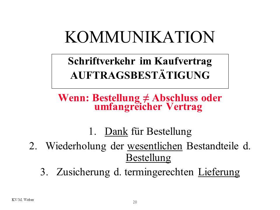 KOMMUNIKATION Schriftverkehr im Kaufvertrag AUFTRAGSBESTÄTIGUNG