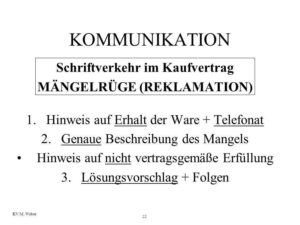 Schriftverkehr im Kaufvertrag MÄNGELRÜGE (REKLAMATION)