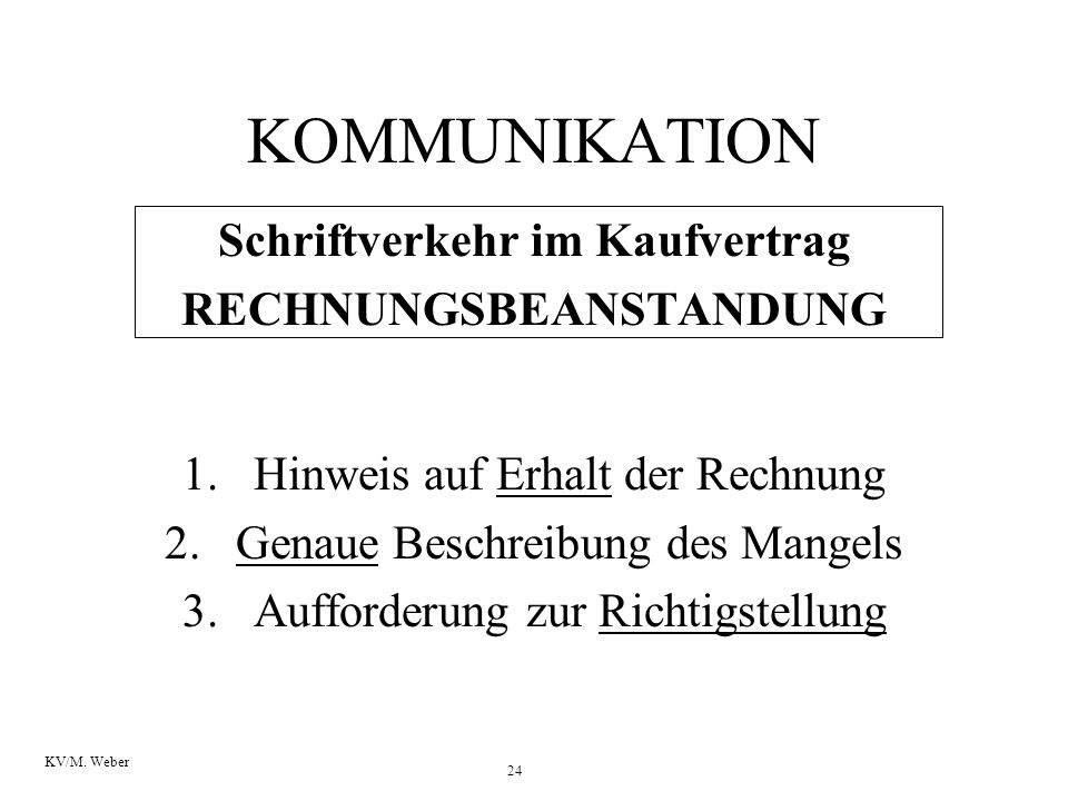 Schriftverkehr im Kaufvertrag RECHNUNGSBEANSTANDUNG