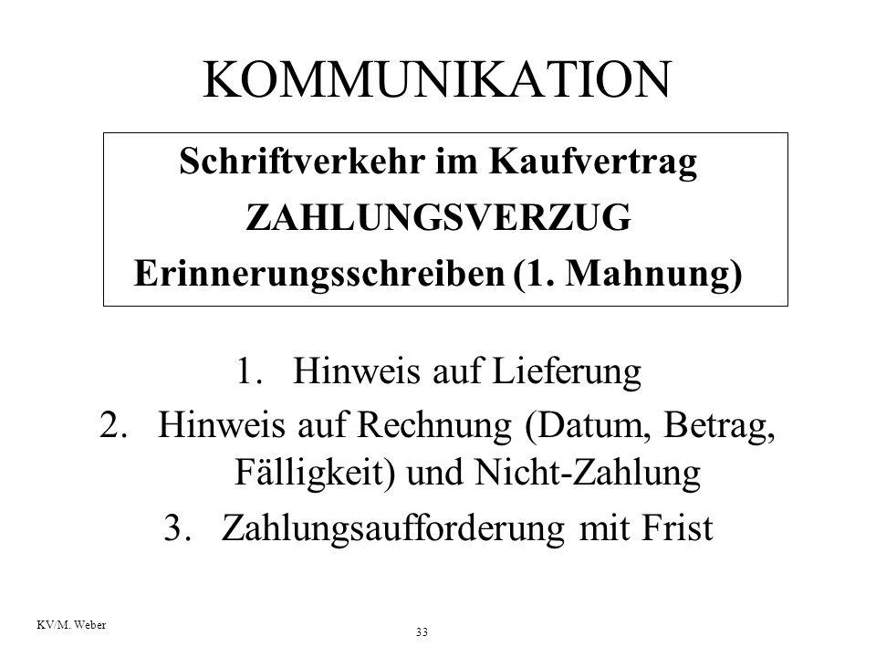 Schriftverkehr im Kaufvertrag Erinnerungsschreiben (1. Mahnung)