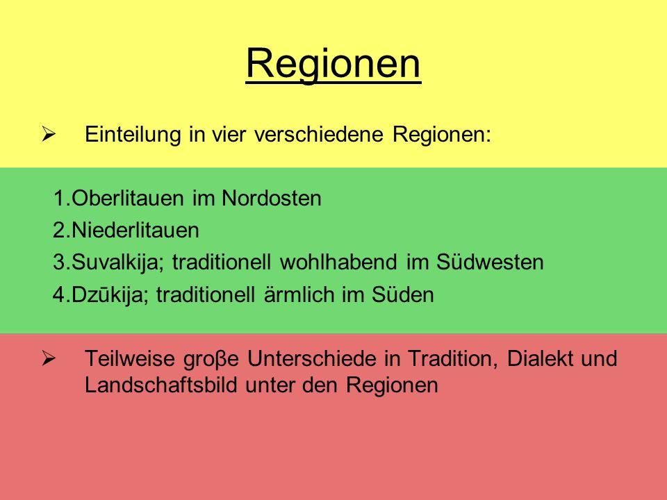 Regionen Einteilung in vier verschiedene Regionen: