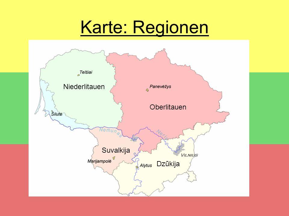 Karte: Regionen Niederlitauen Oberlitauen Suvalkija Dzūkija