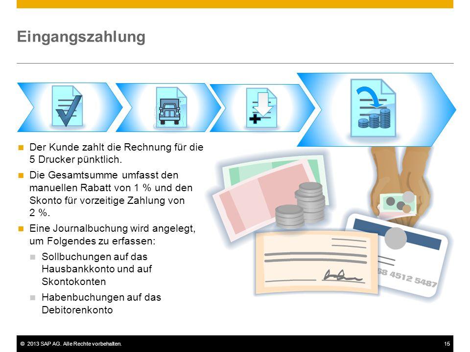 Eingangszahlung Der Kunde zahlt die Rechnung für die 5 Drucker pünktlich.