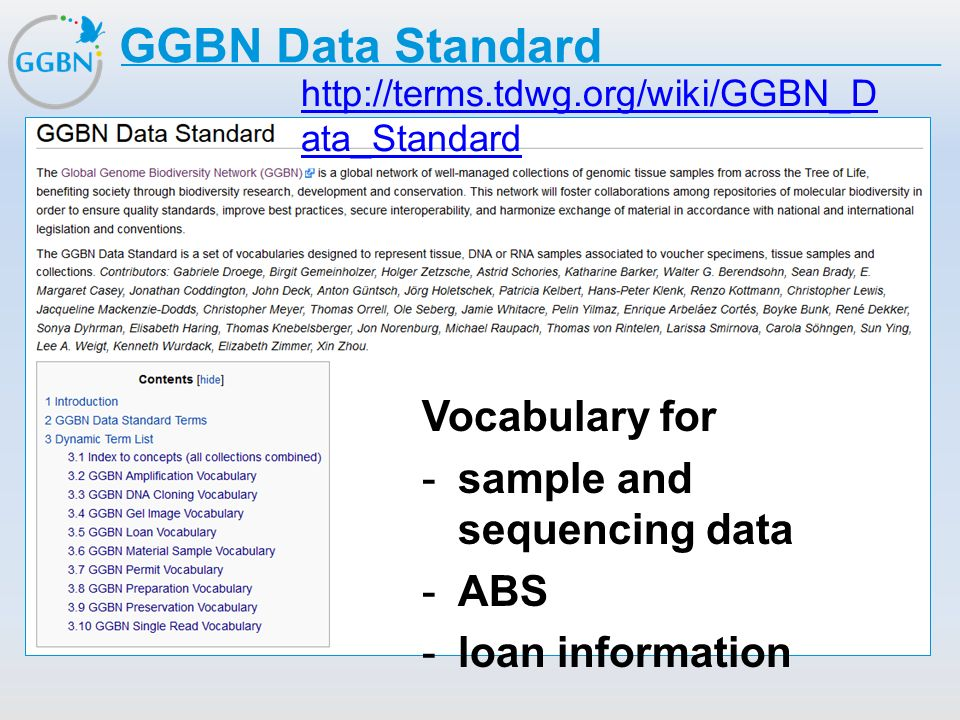 GGBN Data Standard Vocabulary for sample and sequencing data ABS