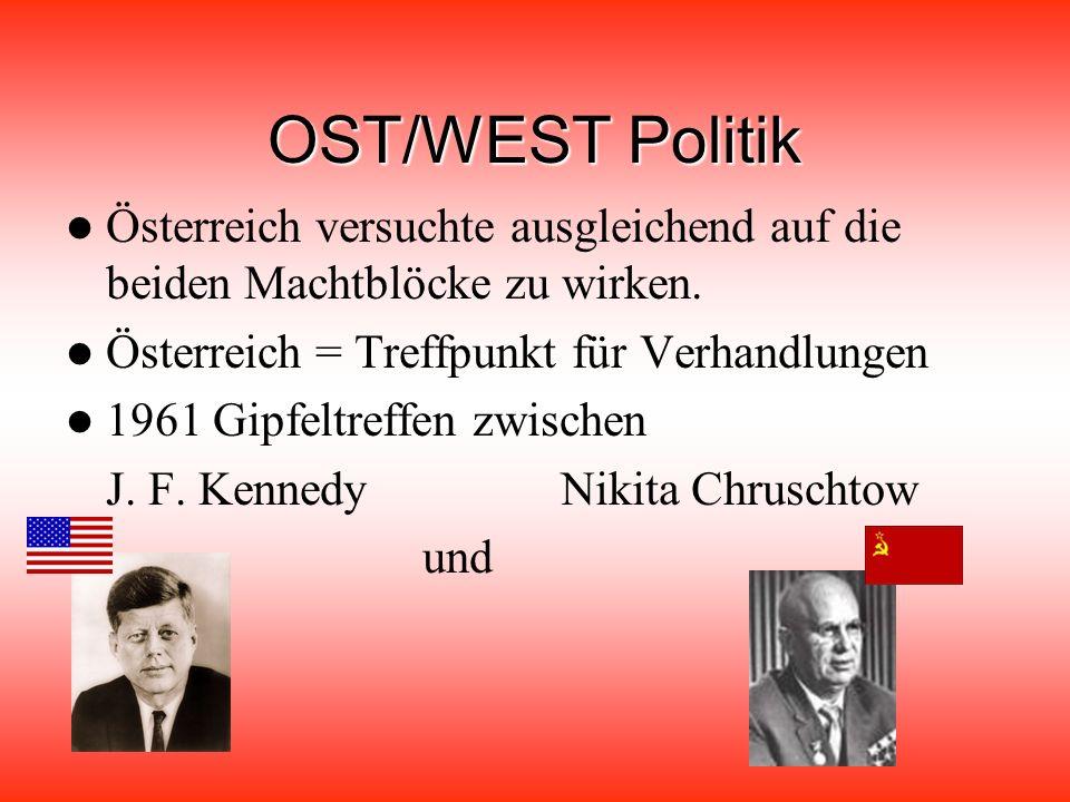 OST/WEST Politik Österreich versuchte ausgleichend auf die beiden Machtblöcke zu wirken. Österreich = Treffpunkt für Verhandlungen.