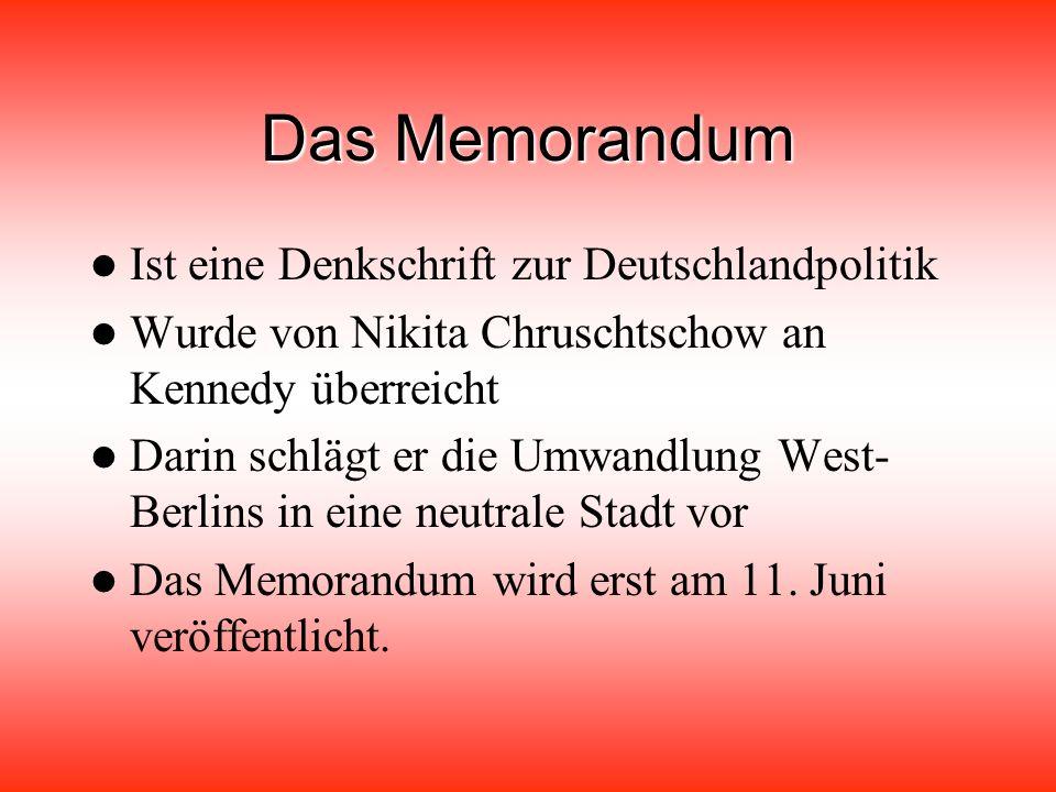 Das Memorandum Ist eine Denkschrift zur Deutschlandpolitik