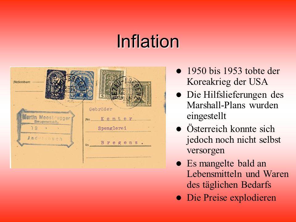 Inflation 1950 bis 1953 tobte der Koreakrieg der USA