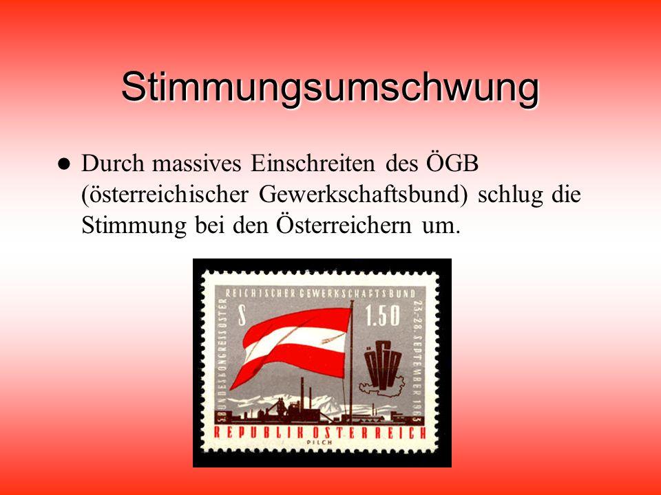 Stimmungsumschwung Durch massives Einschreiten des ÖGB (österreichischer Gewerkschaftsbund) schlug die Stimmung bei den Österreichern um.