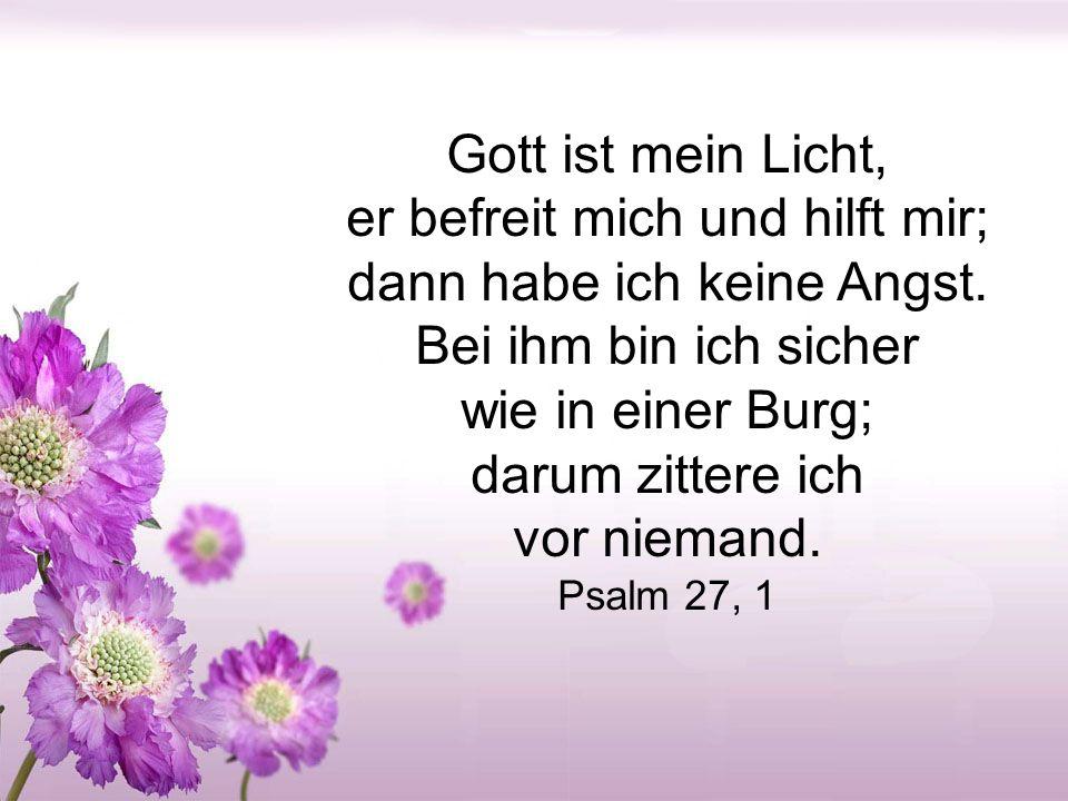 Gott ist mein Licht, er befreit mich und hilft mir; dann habe ich keine Angst. Bei ihm bin ich sicher.
