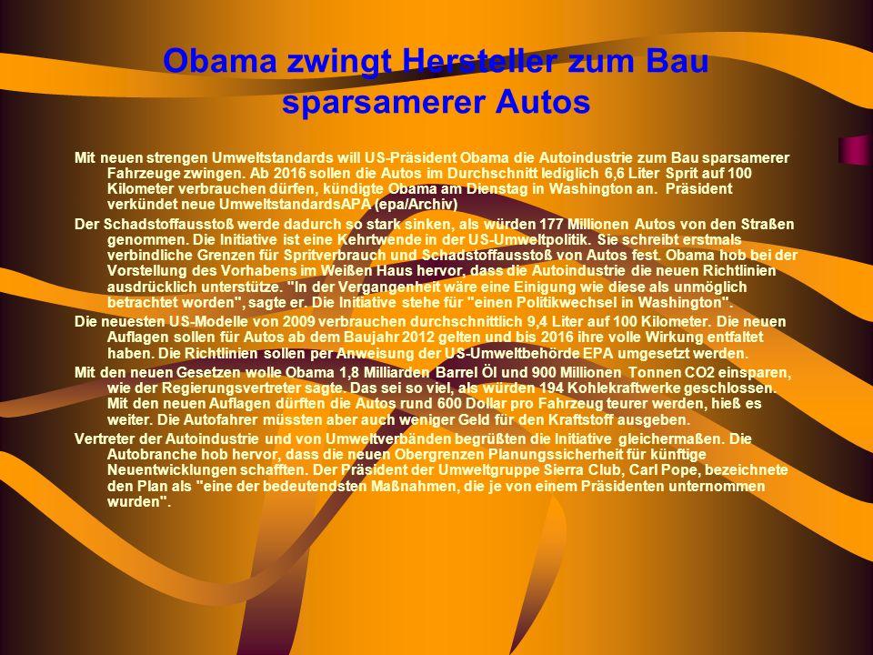 Obama zwingt Hersteller zum Bau sparsamerer Autos