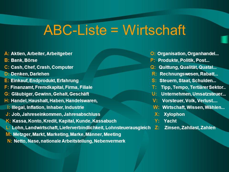 ABC-Liste = Wirtschaft