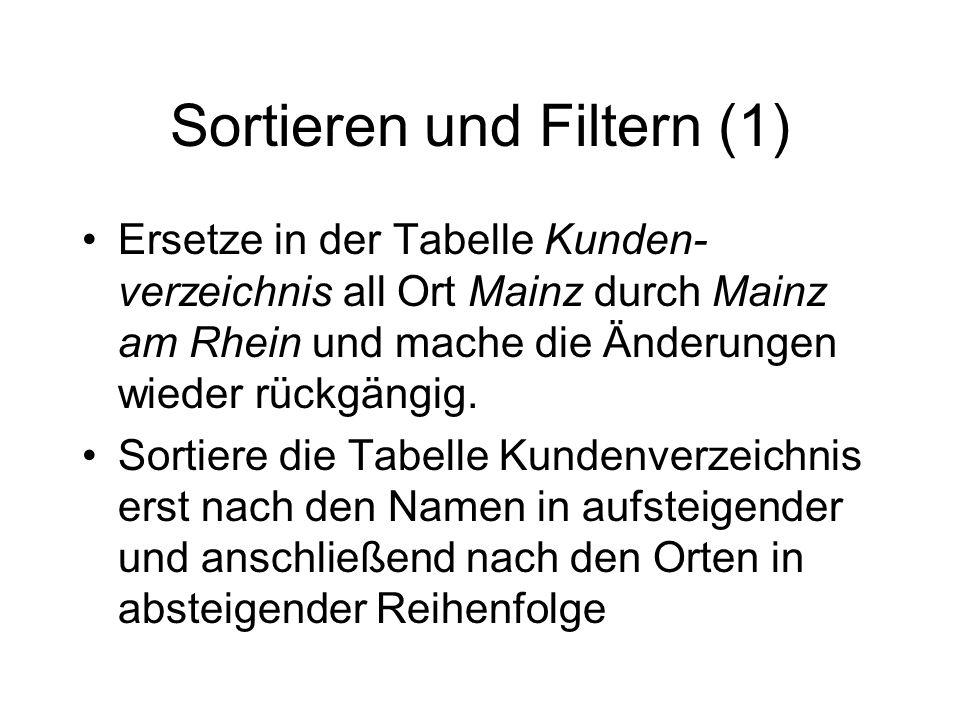 Sortieren und Filtern (1)