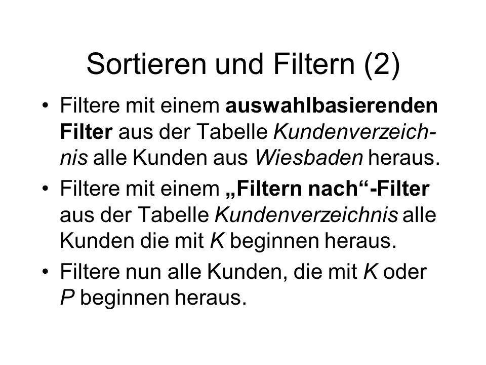 Sortieren und Filtern (2)